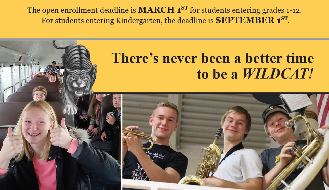 Collage of student photos with text to advertise the open enrollment deadlines for 2019