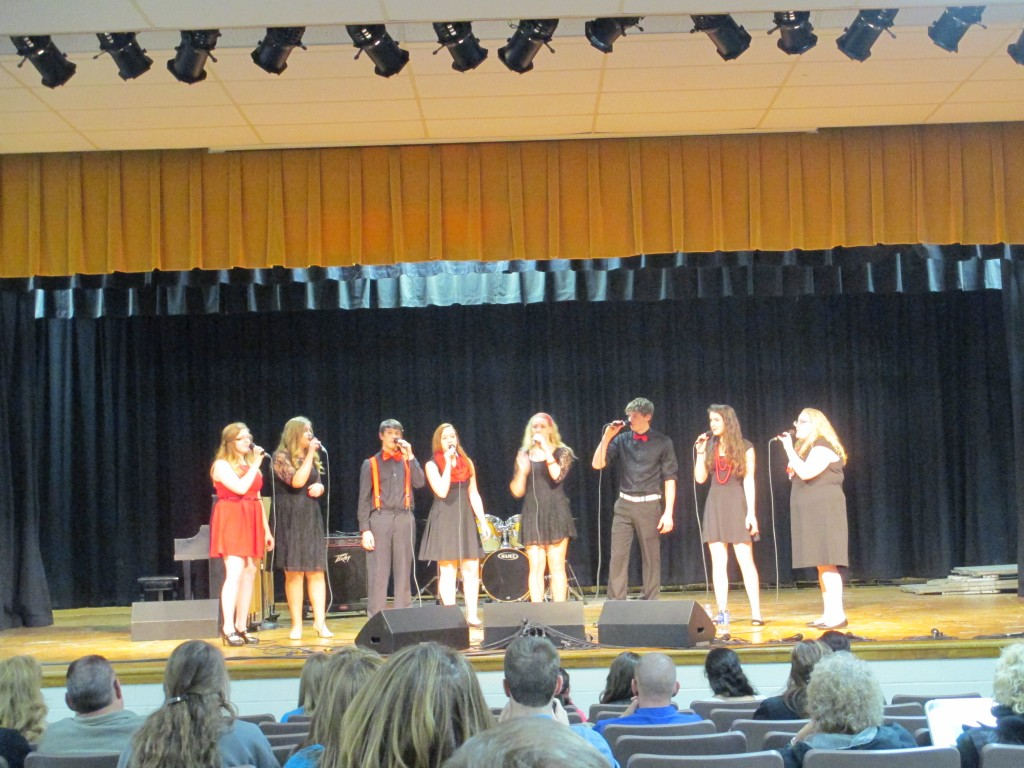 students singing in choir concert