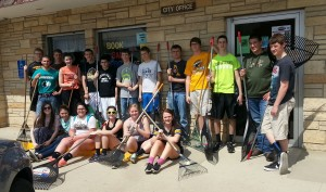 students on cleanup day